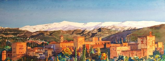 Alhambra y Sierra Nevada Paisaje Acuarela Papel