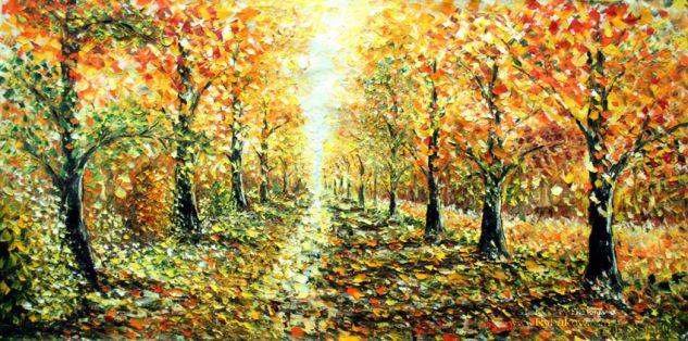 Landscape painting GOLD AUTUMN by Rybakow Valery Óleo Lienzo Paisaje
