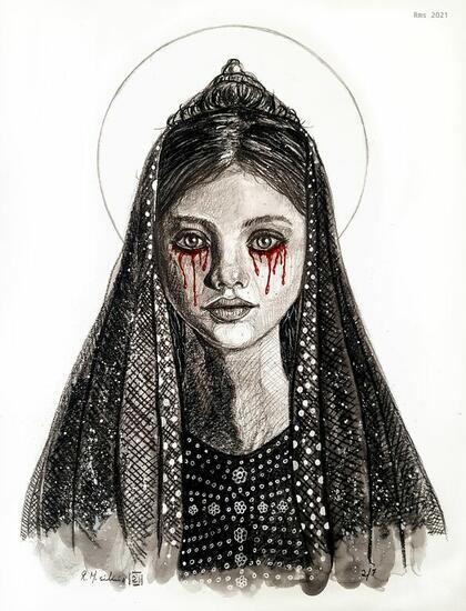 Virgen llorando sangre  Técnica Mixta