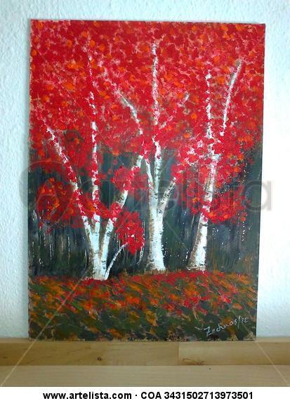 Bosque rosso Tabla Acrílico Paisaje