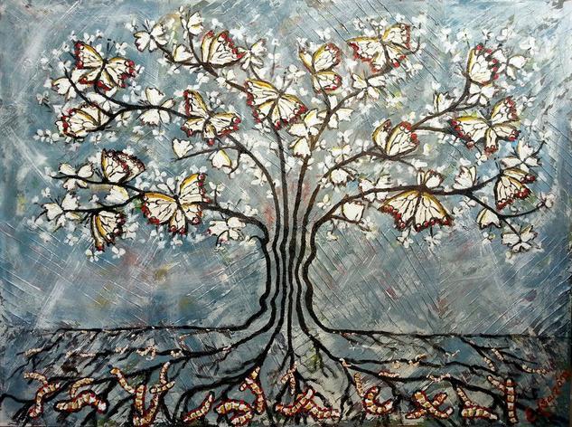 Sembrando mariposas blancas. El árbol de la suerte. Canvas Mixed media Others