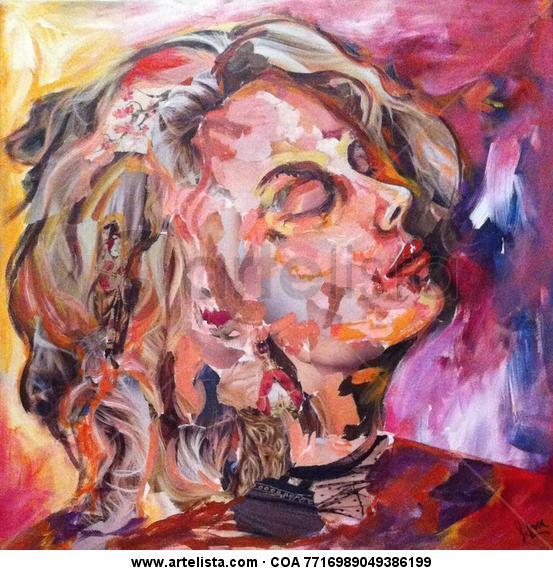 """""""Al viento"""" Lienzo Retrato"""