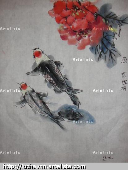 Koi and flower Papel Acuarela Otros