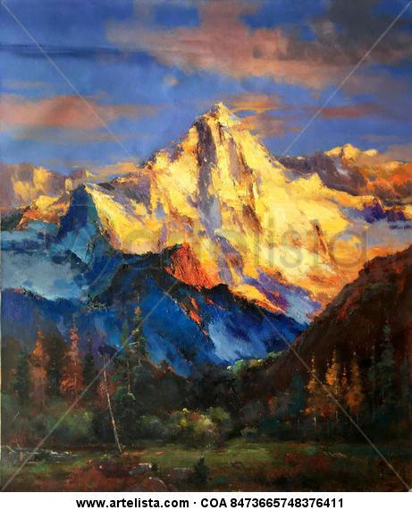 Splendid golden mountain 060 Landscaping Oil Canvas