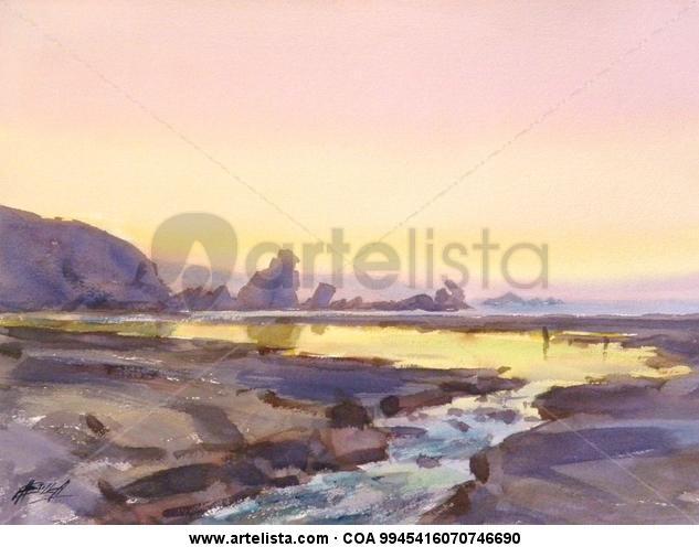Tarde veraniega costera Tela Acuarela Marina