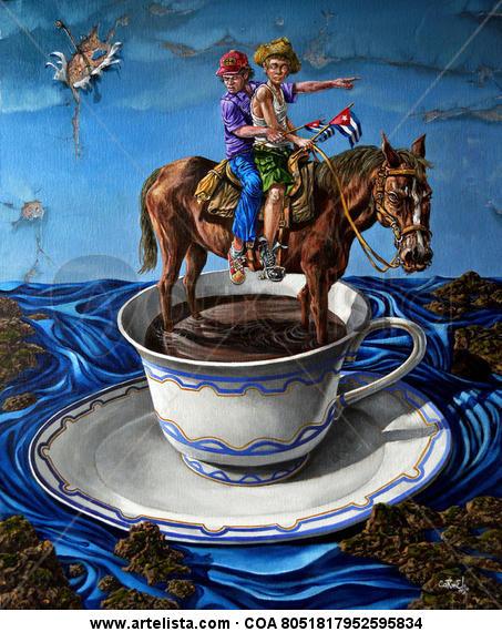Café cubano Lienzo Acrílico Paisaje