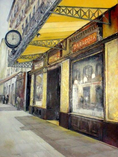 Gran Café Zaragoza Lienzo Óleo Paisaje