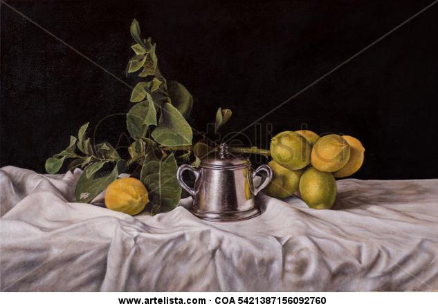 Limones Bodegones Óleo Lienzo