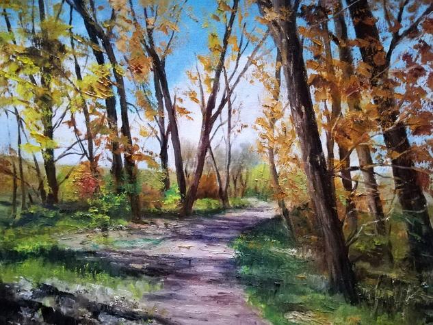 Paseo  en otoño Lienzo Óleo Paisaje