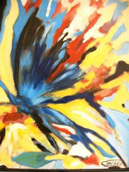 mariposa y flor Tabla Óleo Floral
