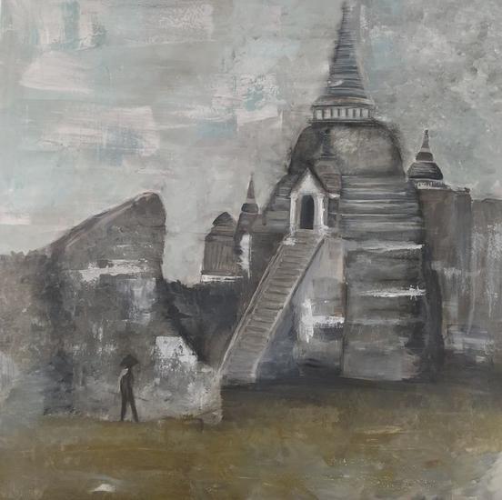 Wat Phra Si Sanphet, Ayutthaya Paisaje Media Mixta Lienzo