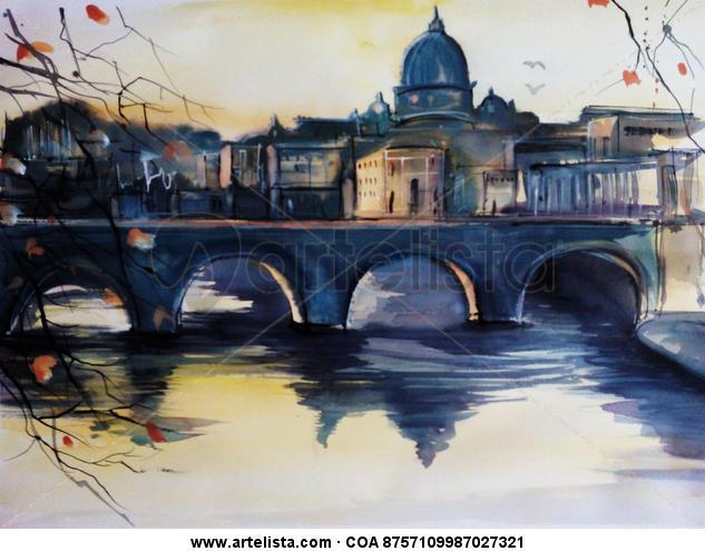 Lucentum: La Ciudad de Roma a través de la Luz Acuarela Paisaje Papel