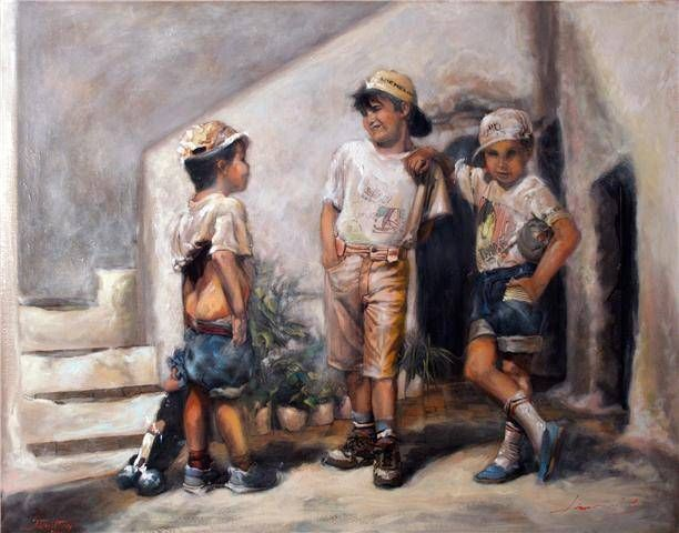 Los del barrio Oil Canvas Figure Painting
