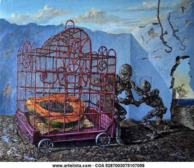 El rapto de la Papaya Acrílico Paisaje Lienzo