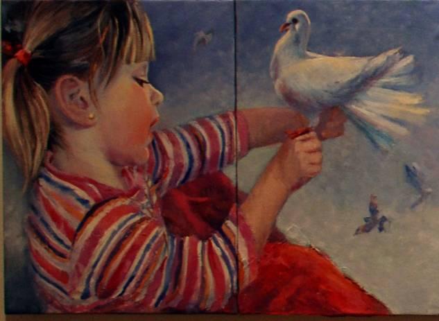 Canto a la paz y a la belleza,detalle Óleo Lienzo Paisaje