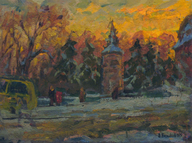 Winter day in the city Paisaje Óleo Lienzo