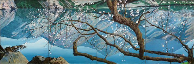 Apricot tree over the water. Screen in 4 parts. Lienzo Óleo Paisaje