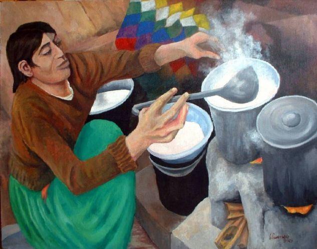Mujer quechua cocinando Lienzo Acrílico Figura
