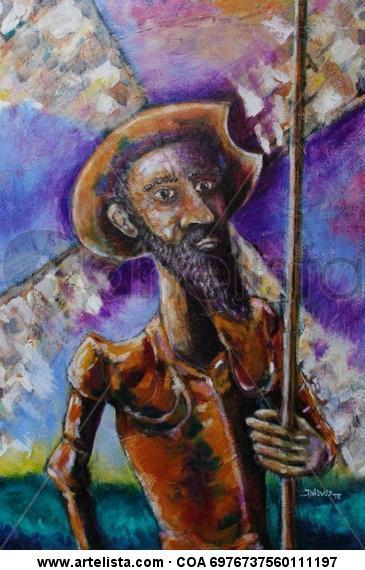 Quijote Mulato Tela Acrílico Paisaje
