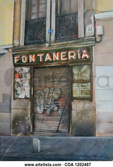 La Antigua fontanería- Madrid Paisaje Óleo Lienzo