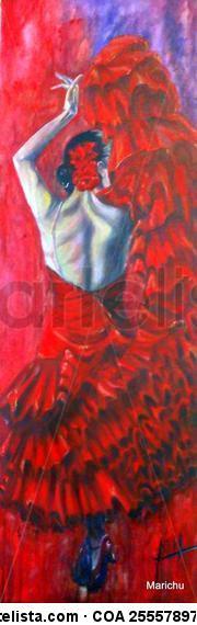 Bailando en rojo Lienzo Óleo Figura