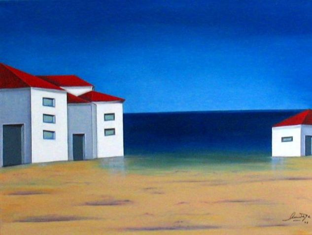 Casas sobre la playa. Houses on the beach. Lienzo Óleo Paisaje