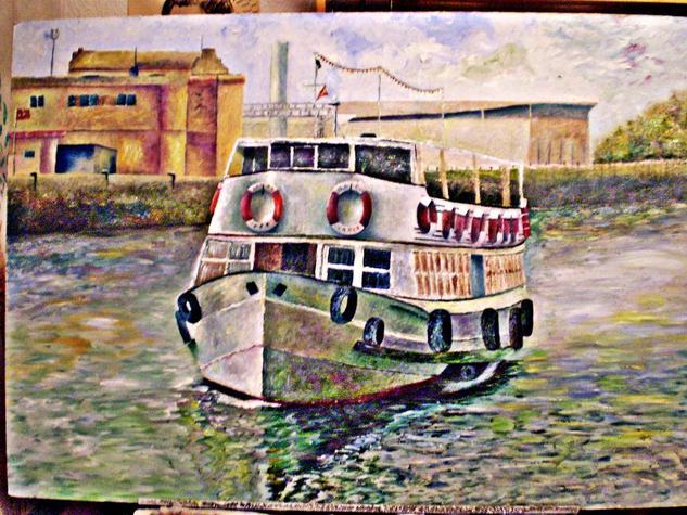 El Vaporcito, Del Puerto de Santa María ...  Tabla Óleo Marina