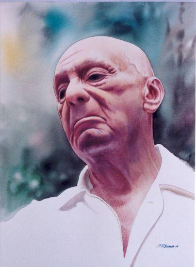 Carlos Pellicer Papel Acuarela Retrato