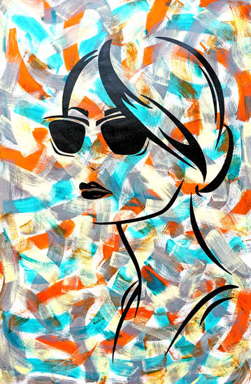 Wayfarer Girl Retrato Acrílico Lienzo