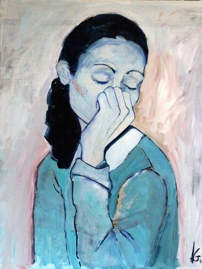 Mujer azul. Lienzo Óleo Figura