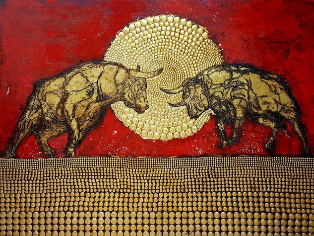 -  Bullfight  - Óleo Figura Tabla