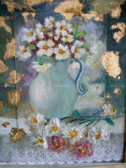 pintura y collage de bordado de tela ypan de oro Canvas Oil Still Life Paintings