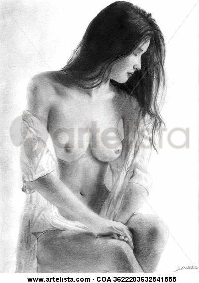 Desnudo II Paper Graphite Nude Paintings