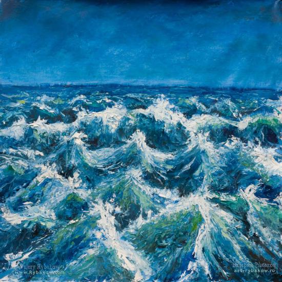 Seascape oil painting on canvas: Start sea storm Lienzo Óleo Paisaje