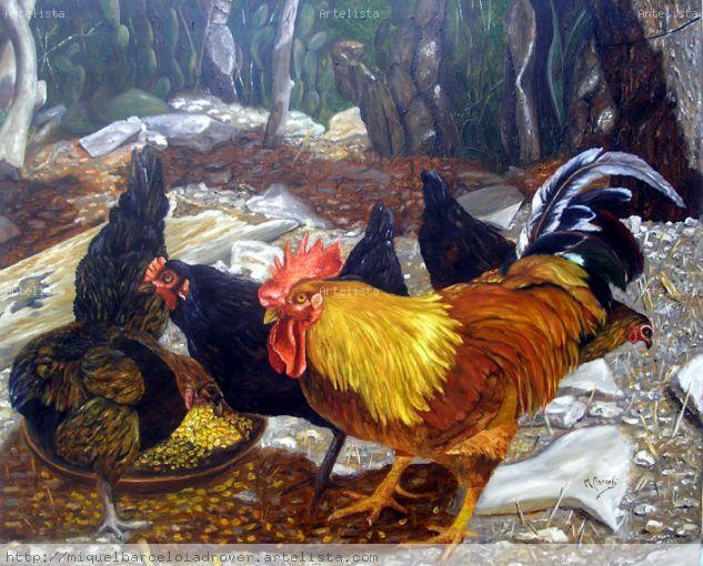 corral de gallinas Óleo Lienzo Animales