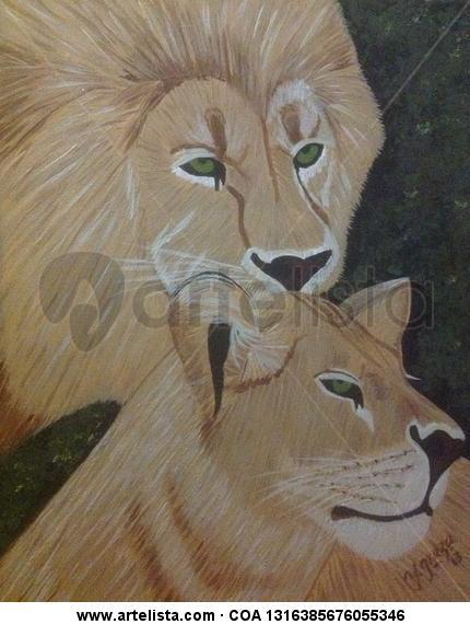Pareja de leones Lienzo Acrílico Animales