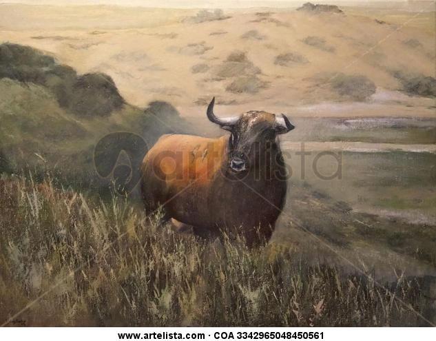Toro bravo en la dehesa de extremadura Lienzo Óleo Animales
