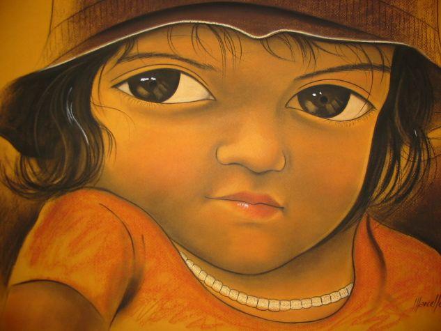 lLA NIÑA DEL BOSQUE Pastel Cartulina Retrato