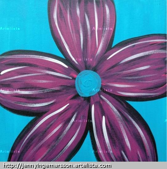 Stor blomma - blå Lienzo Acrílico Floral