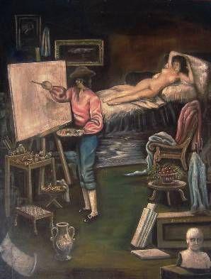 Homenaje a Goya Óleo Lienzo Figura