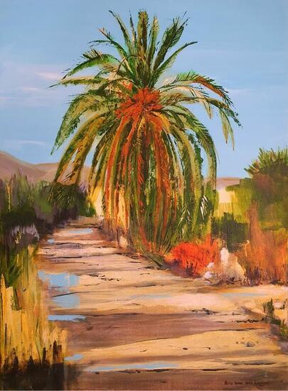 Palm tree and country road Paisaje Acrílico Lienzo