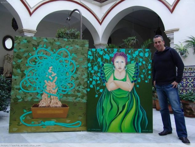 Sacha with two of his paintings, Jerez, Spain - 2009