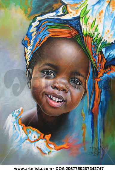 Niña de Africa 94 Acrílico Retrato Lienzo