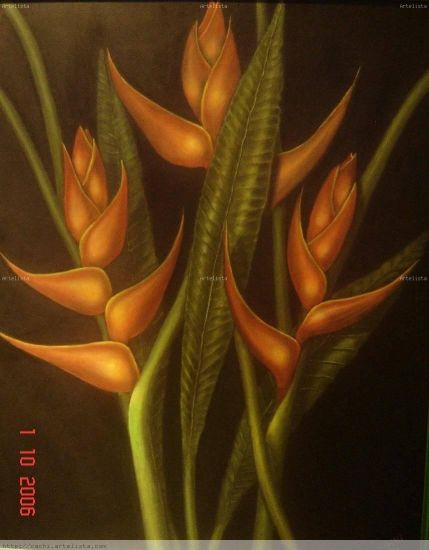 Heliconea Floral Painting Canvas Oil