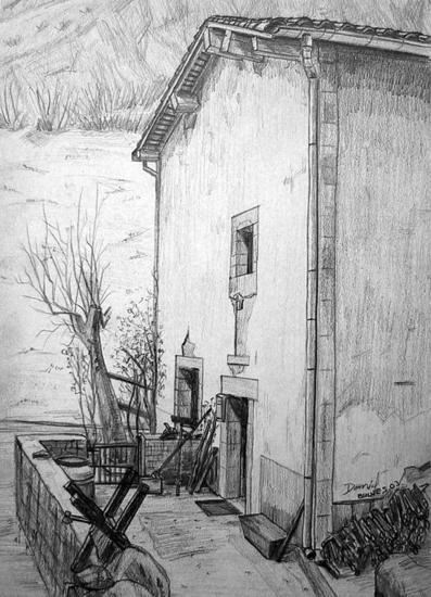 Casa de Bulnes Papel Grafito Paisaje