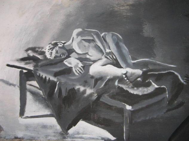 Hombre en solitario Acrílico Cartulina Desnudos