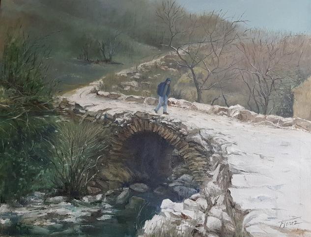 El puente Paisaje Óleo Lienzo