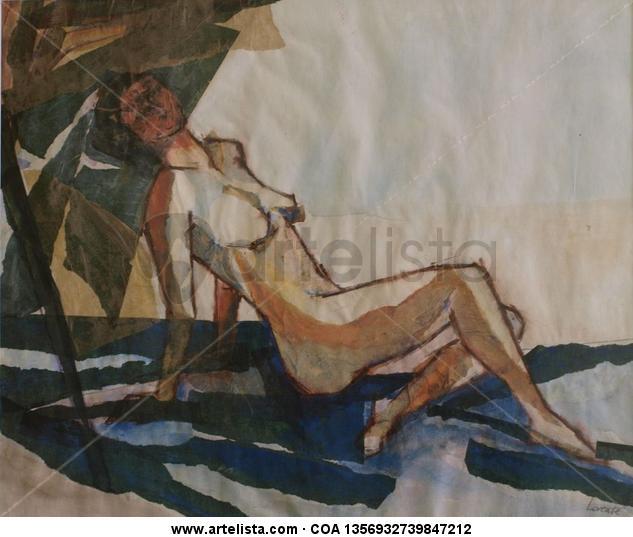 En la playa II Papel Acrílico Desnudos