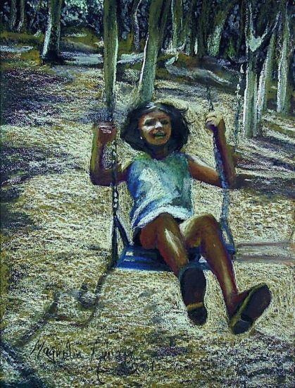 UNA NIÑA EN EL COLUMPIO Girl on the Swing Retrato Papel Pastel