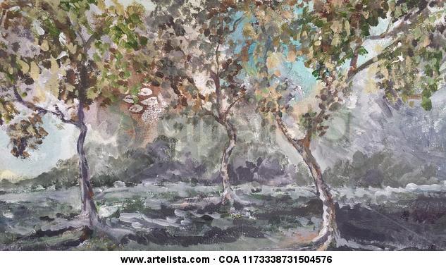 Bosque Paisaje Papel Acrílico
